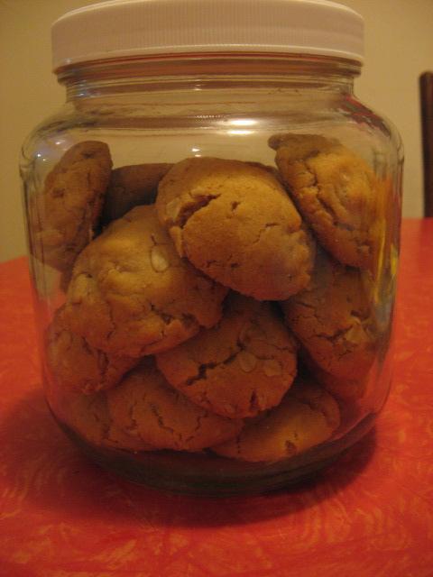 Jar of Peanut Butter Oatmeal Cookies