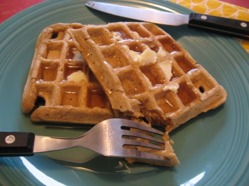 Whole Grain Waffles with Maple Syrup