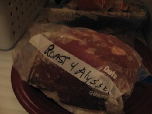 Frozen venison roast